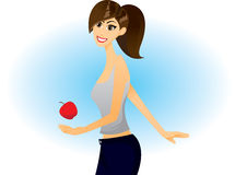 Girl with red apple. Illustration of a girl with red apple on blue background royalty free illustration