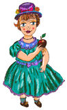 Girl with red apple (vector) Royalty Free Stock Images