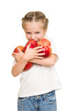 Girl with red apple Stock Photos