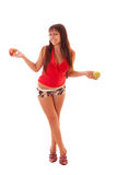 Girl with red apples Stock Image