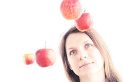 Girl and red apples Royalty Free Stock Photos