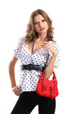 Girl with red bag Stock Image