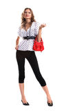 Girl with red bag Royalty Free Stock Image