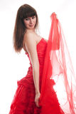 The girl in a red ball dress Royalty Free Stock Images