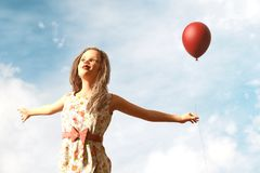 Girl with red balloon. 3d illustration royalty free illustration