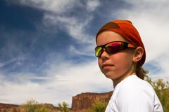 Girl in red bandanna. Girl hiker in red bandanna Stock Photography