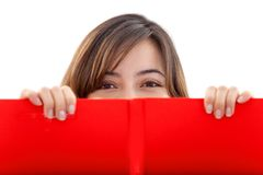 Girl with a red banner Royalty Free Stock Image