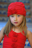 Girl With Red Bathing Suit and Cap Royalty Free Stock Image
