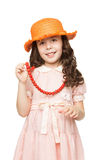Girl in red beads Stock Photography