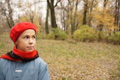 Girl in red beret Royalty Free Stock Image