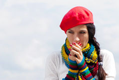 The girl in a red beret Royalty Free Stock Images
