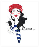Girl in a red beret. Fashion sketch drawing woman. French style. T-shirt design. Royalty Free Stock Images