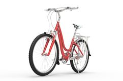 Girl Red Bike - Front View Stock Photo