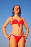 Girl in red bikini Royalty Free Stock Photos