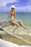 Girl in red bikini and hat Stock Photos