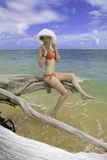 Girl in red bikini and hat Stock Photography