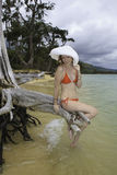 Girl in red bikini and hat Royalty Free Stock Photos