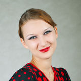 Girl in red and black dress Royalty Free Stock Images