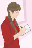 The girl in red blouse wrote pen in a notebook. Illustration. Vector. The girl in red blouse wrote pen in a notebook Stock Photo