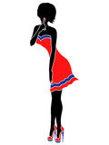 Girl in red and blue dress with her finger at lips. Abstract slender lady in short red dress with a blue stripe and in respective shoes with high heels Stock Images