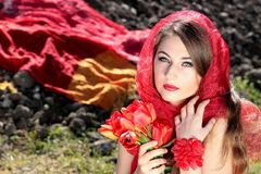 Girl, About, Red, Blue Eyes, Tulips Stock Photo