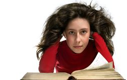 Girl in red with book Royalty Free Stock Photo