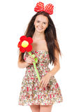 Girl with red bow Stock Photos
