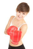 Girl in red boxing gloves Stock Photo