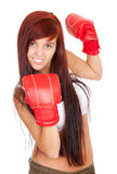 Girl with red boxing gloves Royalty Free Stock Images
