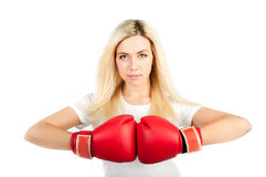 Girl in red boxing gloves Stock Image
