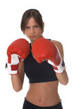 Girl with red boxing gloves Stock Photography