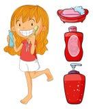 Girl in red brushing teeth vector illustration