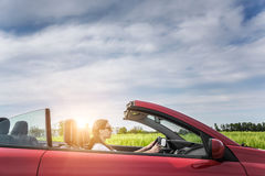 Girl in red cabriolet. Stock Image