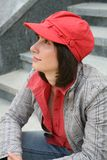 Girl in a red cap Royalty Free Stock Photography