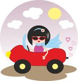 Girl in red car - cartoon Royalty Free Stock Photo