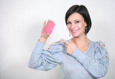 Girl with a red card Royalty Free Stock Image