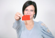 Girl with a red card Stock Photo