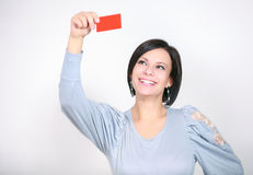 Girl with a red card Stock Photos