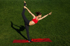 Girl on the red carpet. standard yoga poses. Woman practices yoga in nature Royalty Free Stock Image