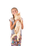 The girl with a red cat. Of breed Scottish-straight are photographed on the white background Royalty Free Stock Photo