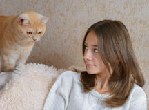 Girl and red cat Royalty Free Stock Photo