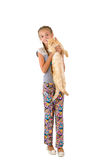 The girl with a red cat Royalty Free Stock Photo