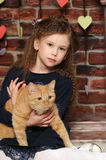 Girl with a red cat Stock Images