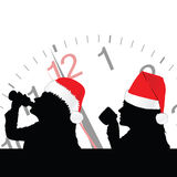 Girl in red christmas hat drinking vector Royalty Free Stock Images