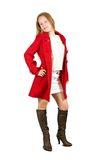 Girl in red coat. On white background Royalty Free Stock Photo