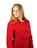 Girl in red coat Stock Photos