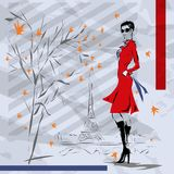 The girl in a red coat Royalty Free Stock Photography
