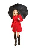 Girl in red coat with umbrella Royalty Free Stock Photo