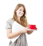 Girl with red cup Royalty Free Stock Images