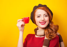 Girl with red cup Royalty Free Stock Photos